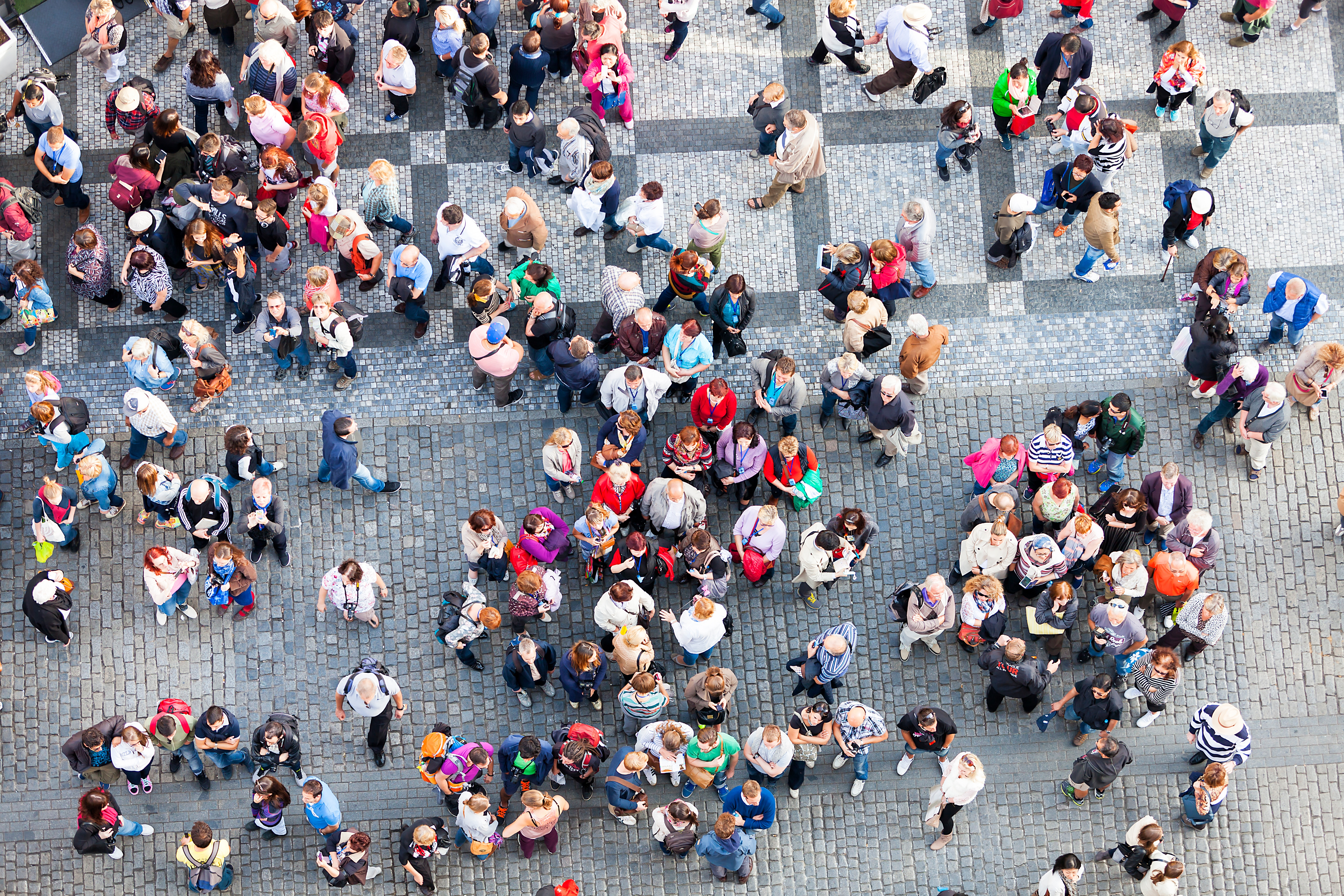 crowd of people - aerial view
